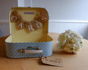 Sass & Belle Shabby Chic Retro Mosaic Geometric Shapes Yellow Blue Vintage WEDDING SUITCASE CARDS Box Bunting
