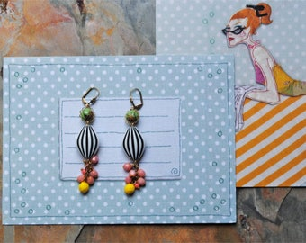 Long, dangle earrings with pink, yellow drops and beautiful vintage beads.
