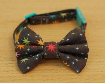 Cat Bow Collar - Grey Stars Night Sky - Breakaway Clip and Adjustable
