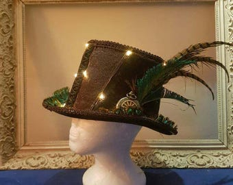Steampunk hat with lights / burning man hat / pimped hat / custom hat