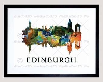 "Edinburgh Art Print - Scottish Capital City Travel 12x16"" Poster FEMP5711B"