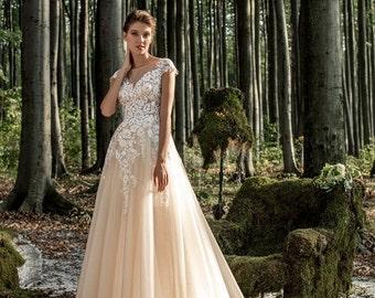 Lace wedding dress Olivia, Powdery color, Light Creamy Champagne , Moscato