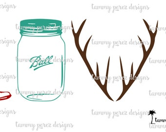 Southern LOVE and Mason Jars SVG DXF Files - Digital File for Craft Cutting