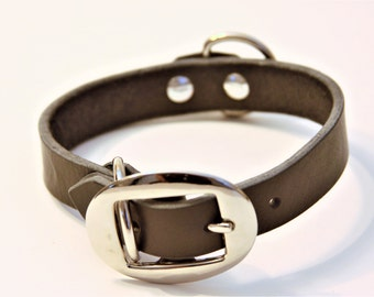 Small PLUS+ Genuine Leather Dog Collar (Black) 15''