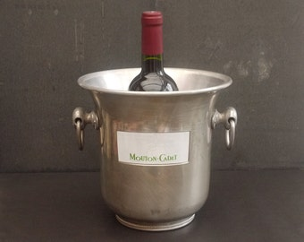 Vintage Mouton Cadet Rothschild aluminium Champagne bucket. French wine cooler. Chic french Champagne, Ice Bucket, Cooler