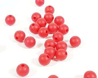 9mm Red Silicone Round Bead, Teething beads, Teething jewellery, Rubber beads, Chunky beads, Modern Beads, KerrieBerrie