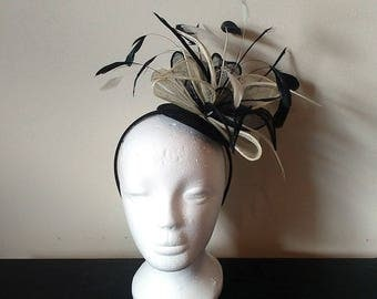 Black and ivory wedding fascinator, derby fascinator, ivory fascinator, feather fascinator, fascinator with feathers, black fascinator