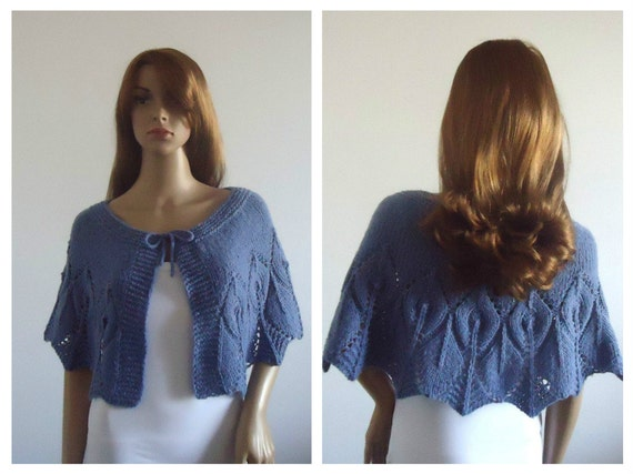 Cover-up Modern Wedding lavender Bridal Shawl wool Knit Evening Cape  Ready to Ship Handmade Women