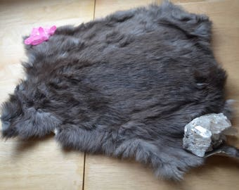 Black/Grey Tanned Rabbit Fur