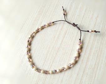 Dainty Rose Gold Bracelet, Adjustable Beaded Bracelet, Czech beads, Linen cord bracelet, One Size Fits Most