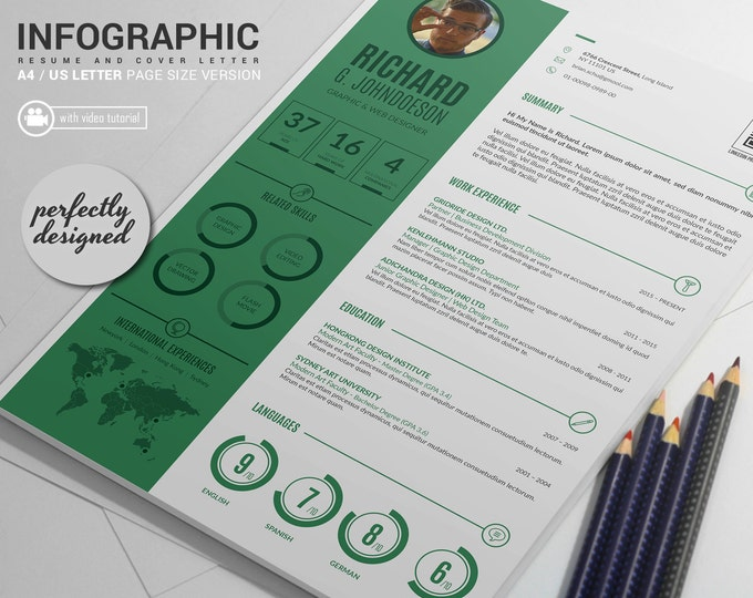 Resume Template / CV Template and Cover Letter, Word and InDesign Infographic Resume Design. Creative Curriculum Vitae with Tutorial Video