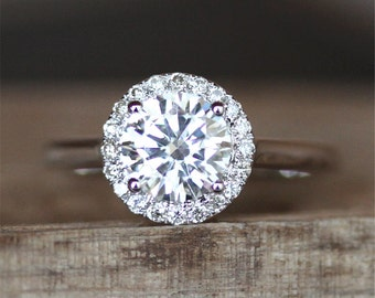 Forever Classic Brilliant Moissanite Engagement Ring 6.5mm Round Cut Moissanite Ring Halo Diamonds Plain Ring Band 14K White Gold Ring