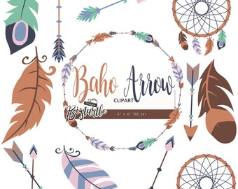 50% OFF SALE  Boho clipart, arrow clipart, Tribal Arrow Clipart, feather digital clipart, Arrow digital clipart, 300 dpi, Instant Download.