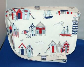 Beach Hut Fabric Messenger Bag Handmade Pocket Inside
