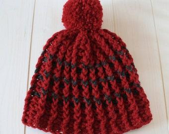 Hat, Pom pom hat, Beanie, Bobble hat, Crochet hat, Womens hat, Mens hat, Red pom pom hat, Red hat, Red beanie,  Ready to ship,