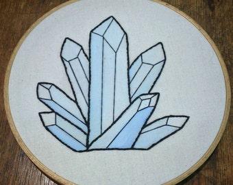 Handmade Embroidered Quartz Hoop