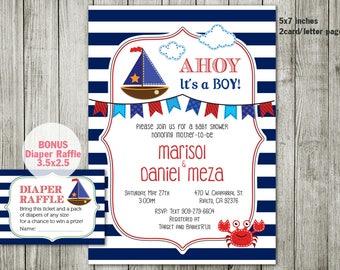 Nautical invitation - Nautical Baby shower invitation - baby shower - Anchor birthday - Boy invitation - personalized