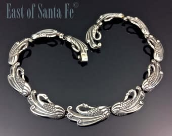 RARE Margot de Taxco Swan Necklace Sterling Silver Signed 5144