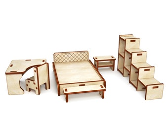 Furniture for Dollhouse Bedroom, Dollhouse miniature Furniture,Set of furniture dollhouse, wooden furniture, dollshouse miniature