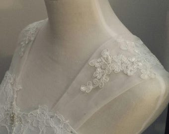 Detachable Sleeves, for Regular Strapless, made of Soft Tulle w/Corded Lace Appliques, OFF WHITE