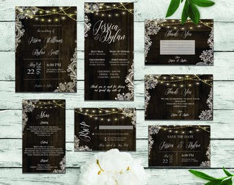 Rustic Lace and Wood Wedding Set DIGITAL FILES