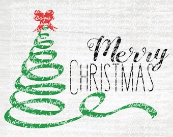 Merry Christmas Svg Cut File Silhouette Cricut - Happy Holidays Svg Cut File - Christmas Tree Svg Cut File - DXF - EPS - Png