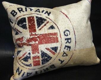 London cushion cover Decorative case pillow 16x20 Union Jack Vintage gift British style English flag Home decor London memorabilia Souvenir