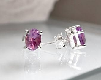 Oval Purple Amethyst Earrings - Silver Studs - Amethyst Studs - Gemstone Studs - Silver Earrings - Small Stud Earrings - Lavender Post