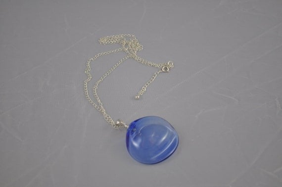 Blue is blue Venetian style blown glass pendant on sterling silver chain