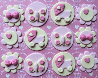 12 edible fondant BABY SHOWER cupcake toppers.