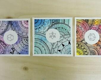 Sacred Geometry mandala watercolor 3 prints. Mandala watercolor print. Sacred Geometry watercolor. Home decor print. Esoteric prints.