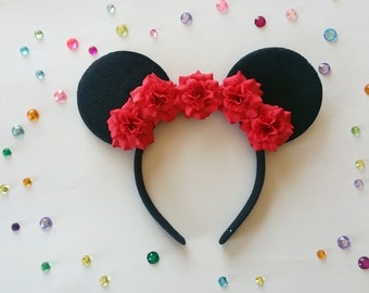Red Rose Minnie Ears, Flower Minnie Ears, Disney Ears, Red rose mouse ears,