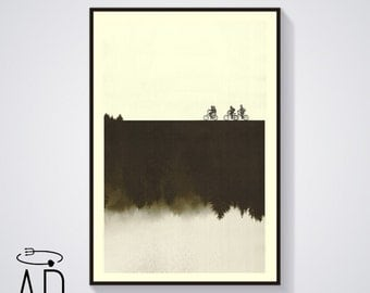 Special Edition: STRANGER THINGS Inspired Art Print Movie Poster, Mid Century Modern, Sci fi, Vintage Style, Bicycles, Movie poster