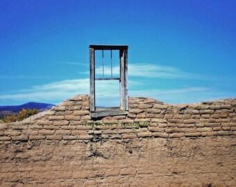 Adobe Wall with Window, Southwest Art, Original Photograph, 8 x 10 Matted Photograph