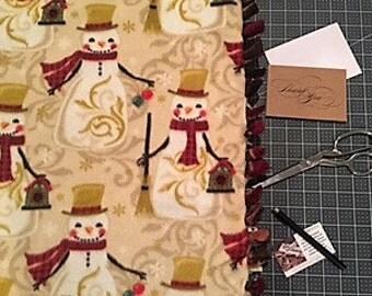 Snowman and Reindeer Christmas Fleece Blanket