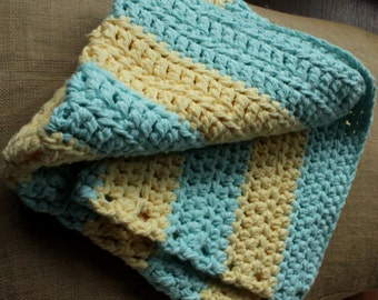 Thick Cotton Bathmat - Rubber Duckies & Toothpaste (yellow/aqua, double-stranded cotton, hand-crocheted)