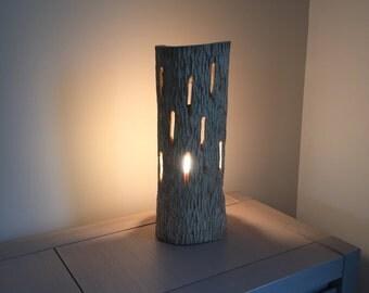 Openwork wooden table lamp