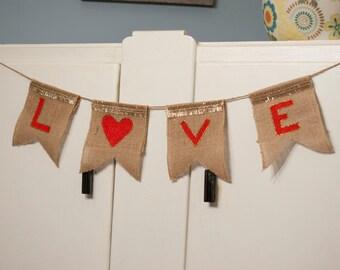 Valentines Day Rustic Burlap Love Banner, Valentine's Day Banner, Love Banner, Burlap Banner