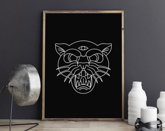 Panther Print, Black Panther, Bedroom Decor, Wall Prints, Gift for Him, Most Popular Item, Best Seller, Printables, Panther Poster, Wall Art