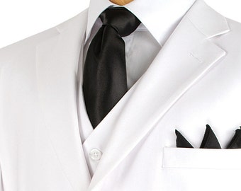 Classic-fit men's suit 3 piece suit 3 bottons solid white suits new with tag