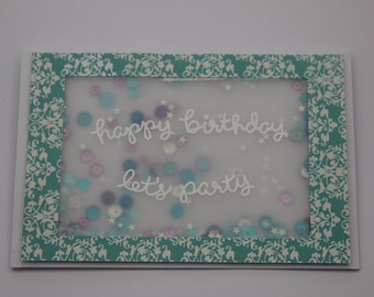 SHAKER CARD - Happy Birthday Shaker card, shake for sequins & sparkles. Hand-made card, with envelope.