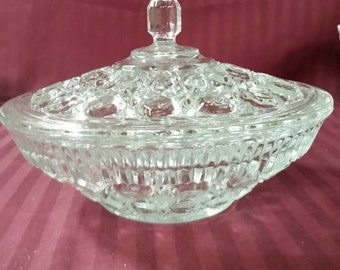 Crystal candy dish with lid. Windsor pattern. Button cane design.