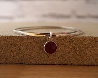 Ruby Silver Bangle, Gemstone Bangle, Ruby Pendant Bangle, July Birthstone, Birthstone Gift, July Bangle, Ruby