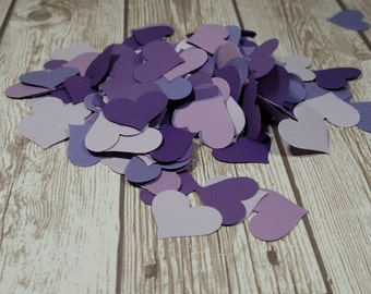 Purple  heart confetti table scatter scrapbooking supplies