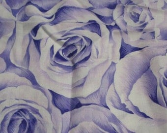 patchwork fabric white with purple roses