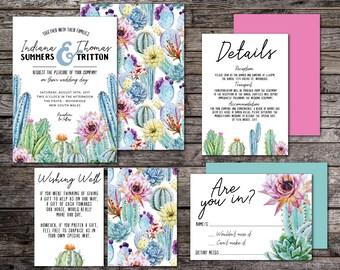 Cactus wedding invitation suite, fiesta wedding invitation suite, printable wedding invitation suite, DIY, affordable, cacti (Desert Flower)