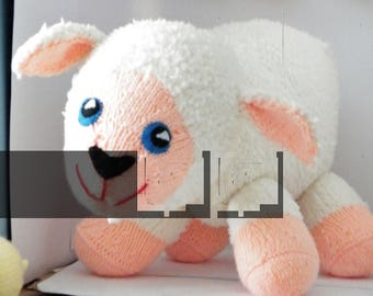 Large Handknitted Soft Toy Lamb