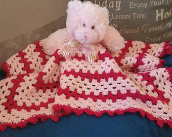 Pink Teddy Bear Baby Cuddle Blanket Rug for Baby Girl Security blanket