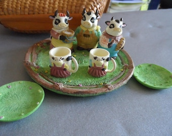 Gift for Little Girl, Collector of Cows, Miniatures Collector 11 Piece Resin Cow Themed Tea Set  1282