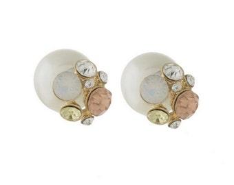 Pearl Earrings, Double Sided Pearl Rhinestone Earrings, Pearls, Jewelry